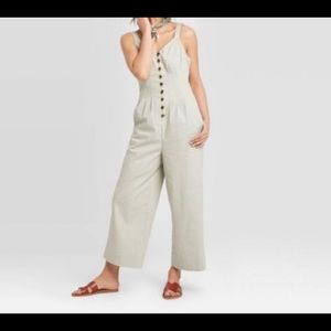 Sleeveless Button Front Jumpsuit Pickled
